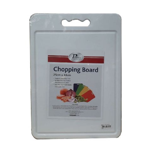Thin White Plastic 34cm Chopping Cutting Juice Groove Mat Board